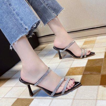 High-heeled Summer Wear New Fashion Rhinestone Mid-heel Cross Sandals NSZSC59537