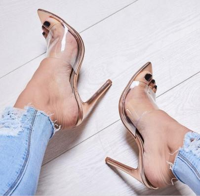 Film Pointed Toe Hollow Golden Sandals NSSO59576