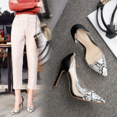 Rubber Color Matching High-heeled Stiletto Shoes NSSO59583