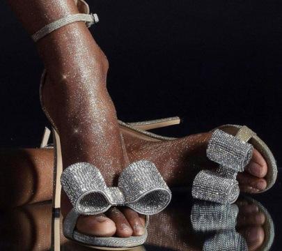 Rhinestone Bow High-heeled Stilettos Sandals NSSO59584