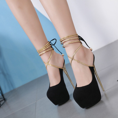 Sexy Suede Lace-up Shoes NSSO59586
