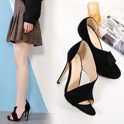 Black Open Toe Suede High Heel Sandals NSSO59587