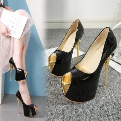 Fashion Open Toe Plain Color Golden Heels NSSO59588