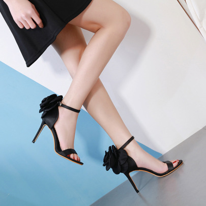 Buckle Fine High-heeled Satin Black Shoes NSSO59589