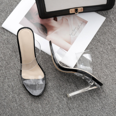 Fashion Crystal Transparent Thick-heeled Sandals NSSO59591