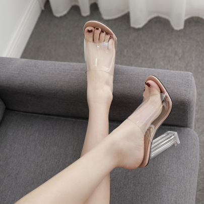 Sexy Crystal Thick High-heeled Sandals NSSO59592
