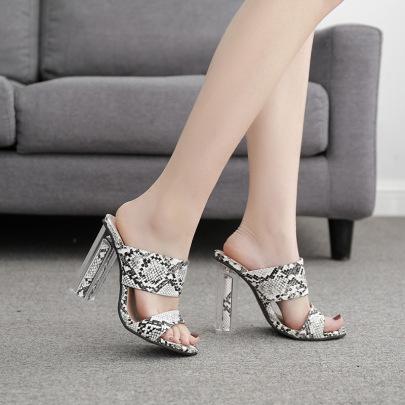 Fashion Crystal Snake Print Sandals NSSO59596
