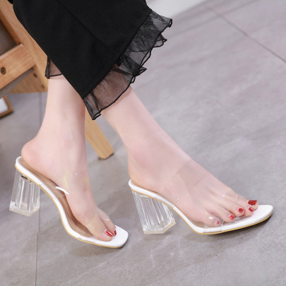 Plastic Square Toe High-heeled Slippers NSSO59597