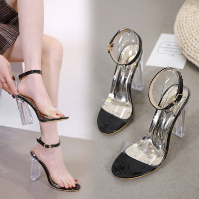 Rubber High-heeled Open Toe Sandals NSSO59598