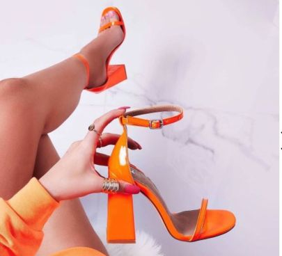 Candy Color Thick High-heel Sandals NSSO59599