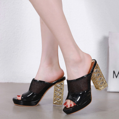 New Crystal High Heel Mesh Stitching Sandals NSSO59604