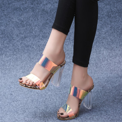 Transparent Color High Thick Heel Shoes NSSO59605
