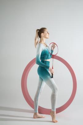 New Style Long-sleeved Gradient Seamless Tight Mesh Fitness Set NSLUT59740