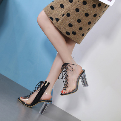Fashion Lace-up Clear Heeled Boots NSSO59608