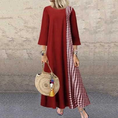 Autumn Fashion Loose Cotton And Linen Plaid Stitching Round Neck Sleeved Dress NSSUO59730