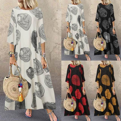 Autumn Fashion Round Neck Retro Printed Cotton Linen Sleeve Dress NSSUO59731
