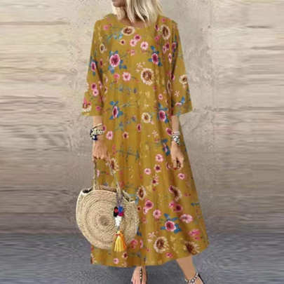 Spring Fashion Round Neck Three-quarter Sleeve Retro Print Dress NSSUO59727