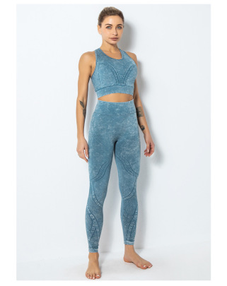 Seamless Sports Bra Printing Sexy Beautiful Back Underwear Fitness Hip-lifting Yoga Set NSLUT59725