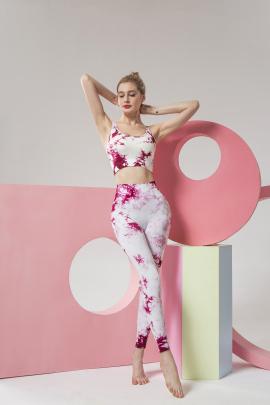 New Printing Beautiful Back Fitness Tie-dye Yoga Set NSLUT59715