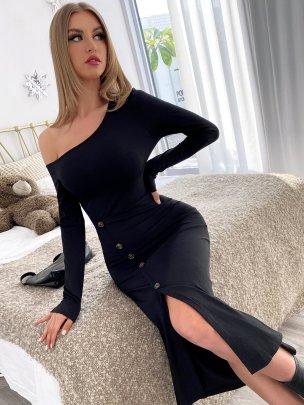 New Long Black Pure Color Sexy Dresses NSCAI59699