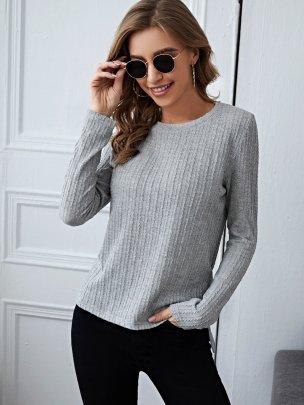 New Pure Color Grey Fashion Tops NSCAI59696