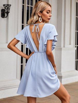 New Blue Short Pure Color Dresses NSCAI59695