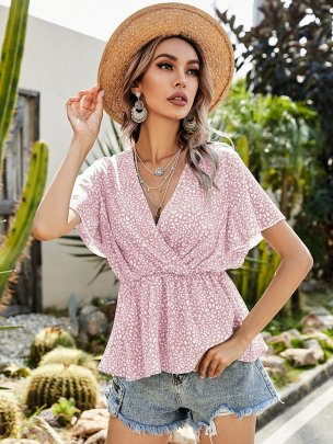 New Pink Pure Color Fashion Cute Comfortable Tops NSCAI59685