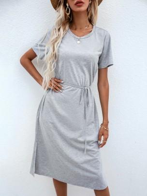 New Grey Pure Color Long Fashion Sexy Dresses NSCAI59693