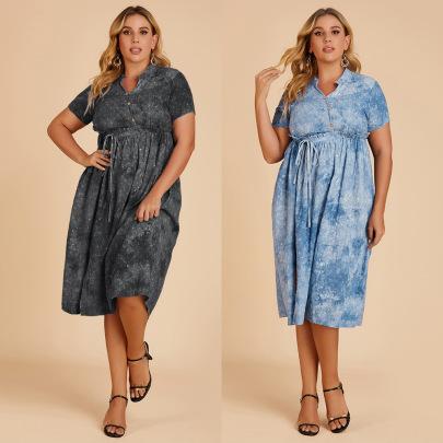 Spot Summer New Style Cotton And Linen Tie-dye Cut Flowers Waisted Large Size Dress NSJR59629