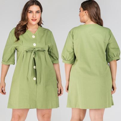 Summer Plus Size V-neck Retro Single-breasted Dress NSJR59630