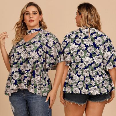 Plus Size Summer New Hanging Neck Lotus Leaf Sleeve Floral Shirt NSJR59634