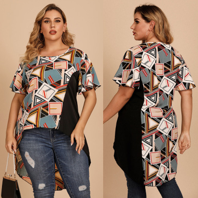 Summer New Large Size Round Neck Short-sleeved Loose Geometric Pattern T-shirt NSJR59635
