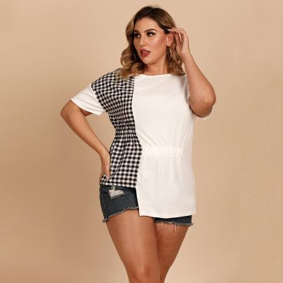 Plus Size Casual Round Neck Plaid Stitching Irregular Hem Long Short-sleeved T-shirt NSJR59637