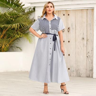 Plus Size Summer New Style Lapel Striped Short-sleeved Tie Shirt Dress NSJR59638