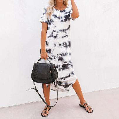 Spring/Summer Fashion Casual Round Neck Short Sleeve Slim Printed Dress NSJR59640