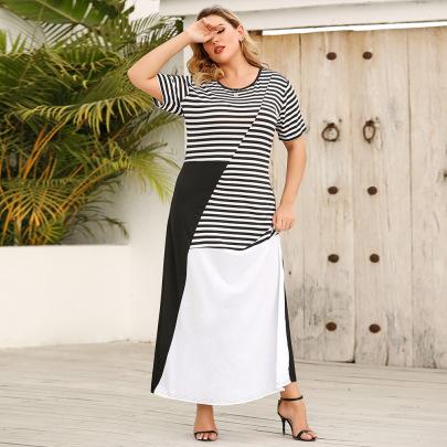 Summer New Plus Size Round Neck Contrast Long Skirt  NSJR59642