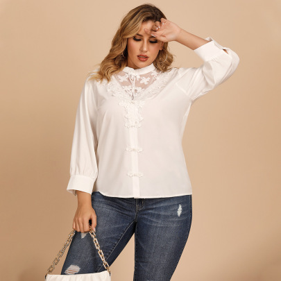 Plus Size Stand-up Collar Solid Color Loose Shirt Lace Stitching Shirt NSJR59643