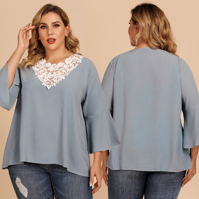 Plus Size Autumn New Sleeve Lace Crochet Stitching V-neck Solid Color Loose Top NSJR59645