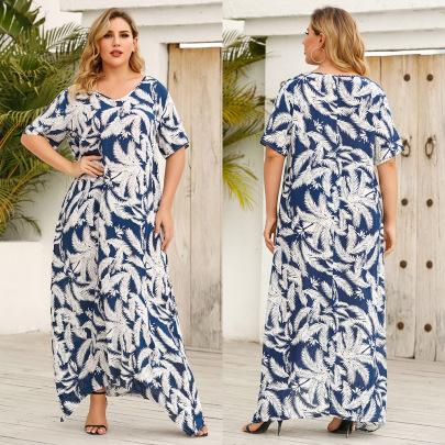 Plus Size Summer New Fashion V-neck Half-sleeve Long Skirt NSJR59646