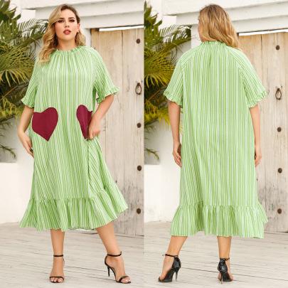 Plus Size Summer Leaf Side Short-sleeved Loose Casual Sweet Striped Printed Dress NSJR59647