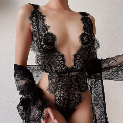 New Style Sexy One-piece Deep V Perspective Hollow Sexy Lingerie Set NSWY59670