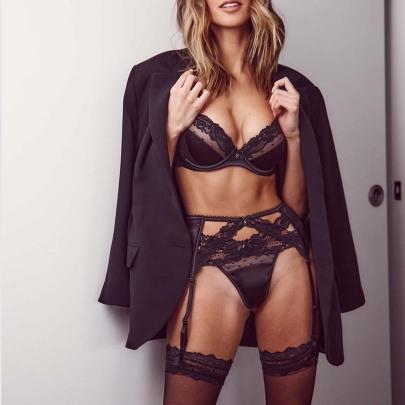Sexy Lace Straps Cross-belt Steel Ring Sling Underwear Set NSWY59672