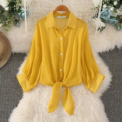 Summer Fashion Loose Solid Color Shawl Sunscreen Chiffon Shirt NSXMI59829