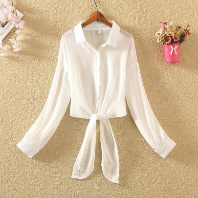 Summer New Style Lapel Solid Color Long-sleeved Sunscreen Thin Chiffon Shirt NSXMI59826