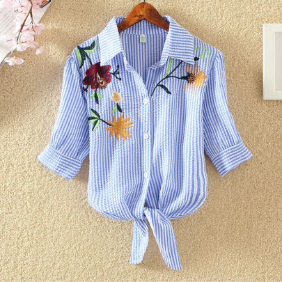 Summer Fashion Loose All-match Casual Embroidered Shirt NSXMI59828