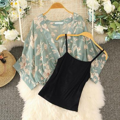 Summer Retro V-neck Bat Sleeve Suspender Chiffon Shirt Two-piece Set NSXMI59823