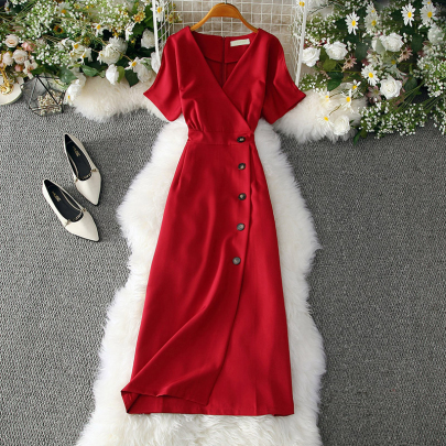 Summer Temperament V-neck Waist Slimming Solid Color Dress NSXMI59819