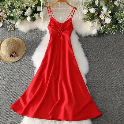 Summer Fashion Cross Suspender Halter Solid Color Big Swing Dress NSXMI59818