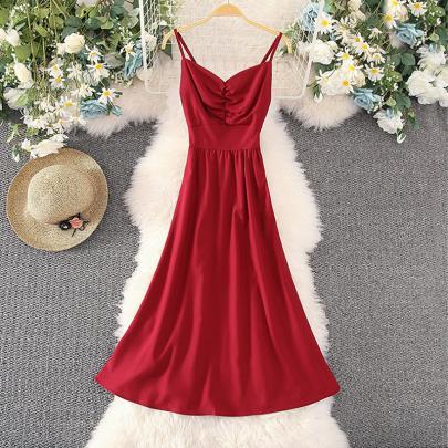 Summer Fashion V-neck Open Back Lace Solid Color Dress NSXMI59816