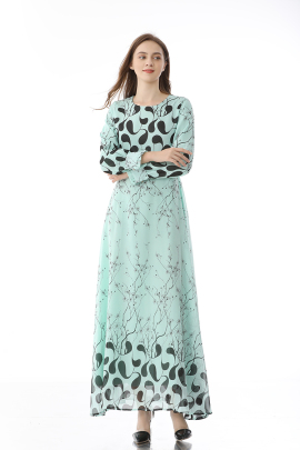 Retro Long-sleeved Floral Large Swing Dress NSLIB59807